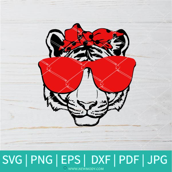 Tiger With Bandana SVG -  Wild Tiger Head bandana SVG - Tiger King SVG