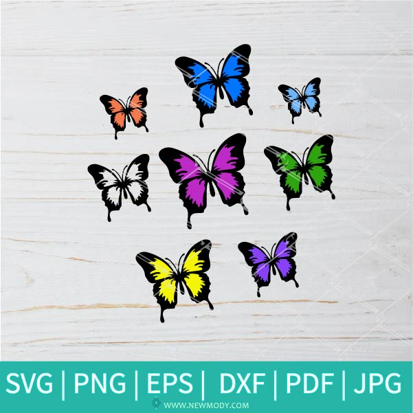 Bundle Colorful Butterflies  SVG - Butterfly SVG - Good Vibes Svg - Girls Svg