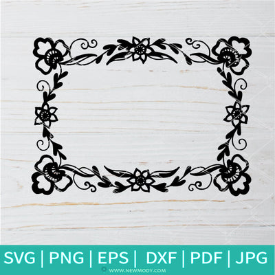 Picture Flower Frame  SVG -Ornament Border SVG- Vector Photo Frame SVG