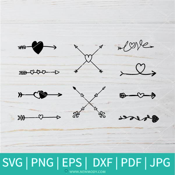 Heart Arrow Bundle SVG -  Arrow SVG - Valentine's Day  SVG - Valentines Hearts SVG