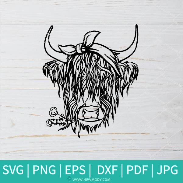 Highland Cow With Bandana Outline SVG - Heifer SVG - Cow With Bandana SVG - Cow Face SVG -Cow head bandana SVG