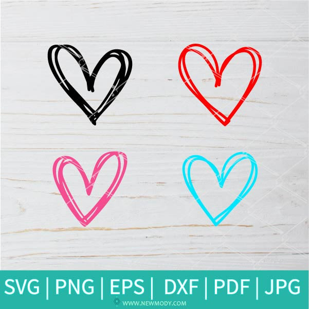 Hand Drawn Heart Bundle SVG -  Valentine's Day  SVG - Valentines Hearts SVG - Love SVG