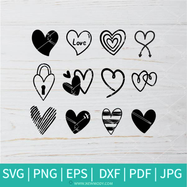 Heart Bundle SVG -  Valentine's Day  SVG - Valentines Hearts SVG - Love SVG - Heart SVG