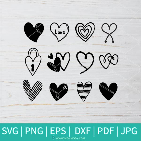 Heart Bundle SVG -  Valentine's Day  SVG - Valentines Hearts SVG - Love SVG - Heart SVG - Newmody
