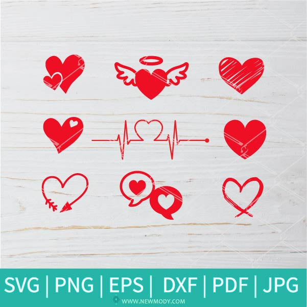 Heart Bundle SVG -  Valentine's Day  SVG - Valentines Hearts SVG - Love SVG - Heart - Newmody