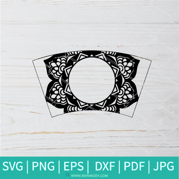 Starbucks Wrap Bundle SVG - flower Strabucks SVG - Flower Monogram SVG - Frame SVG Monogram Wrap SVG