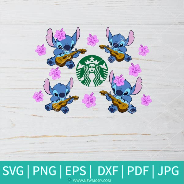 Stitch With Guitar Starbucks Cup SVG - Hibiscus Flower SVG