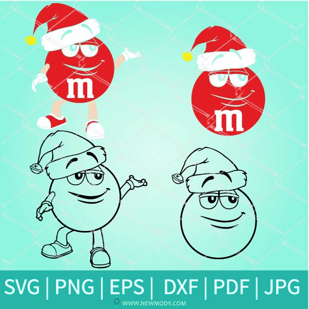 Red m and m Character Svg - Merry Christmas m&ms - Christmas Red m and m Face Svg