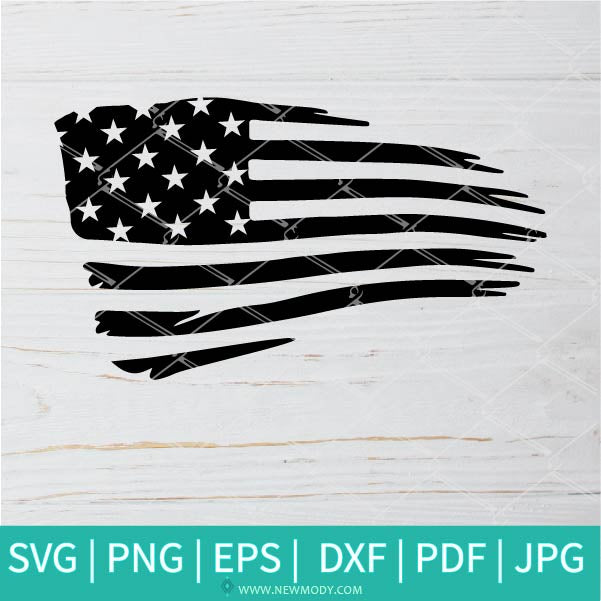 Distressed American Flag SVG  - Distressed USA Flag Vector