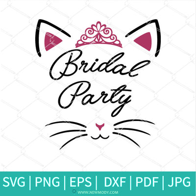Bridal Party SVG - Cute Cat Face Svg