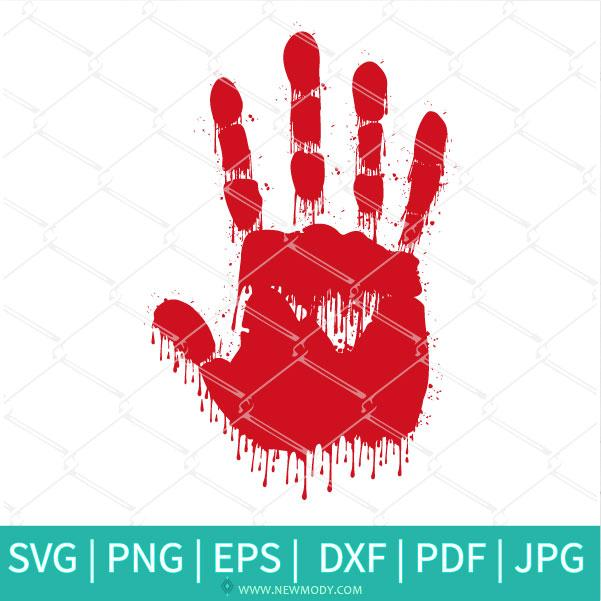 Bloody Handprint SVG - Bloody Hand Print Clipart