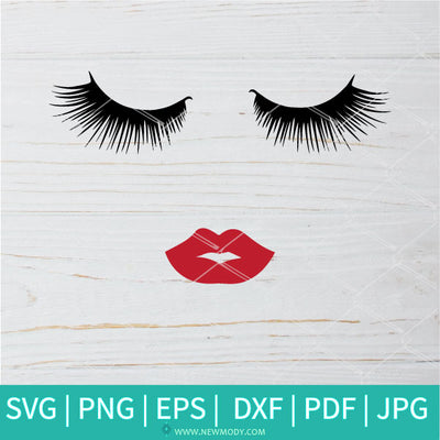 Eyelashes and Lips SVG - Eyelashes and Lips SVG Clipart