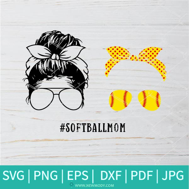 Softball Mom SVG Cut Files | Softball Mom Life Svg Layered | Momlife Softball PNG  | Messy Bun Mom Softball Svg