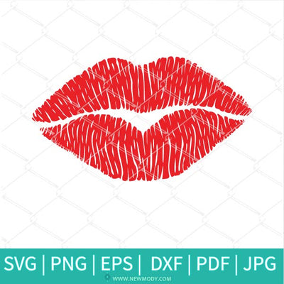 Distressed Lips SVG - Grunge Kiss Svg - Red Lips Clipart
