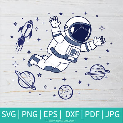 Floating Astronaut In Space Svg - Astronaut Svg