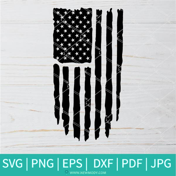 Vertical Distressed American Flag SVG - Grunge US Flag Vector