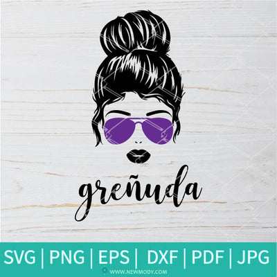 Grenuda Svg - Messy Bun SVG - Girl with Bun and Sunglasses Svg - Newmody
