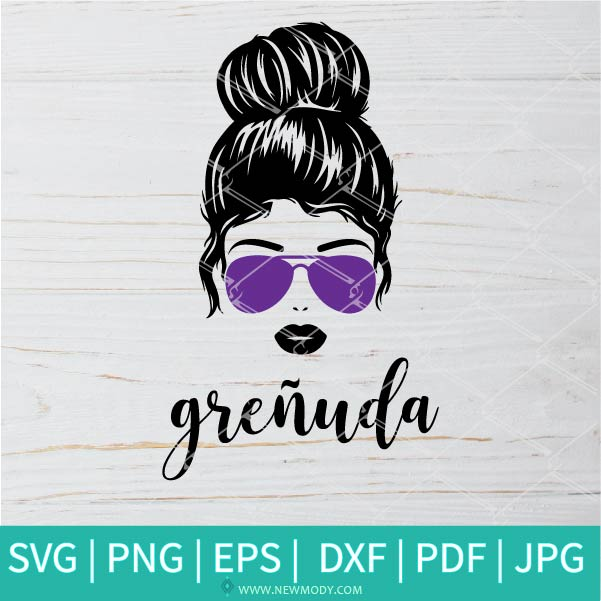Grenuda Svg - Messy Bun SVG - Girl with Bun and Sunglasses Svg