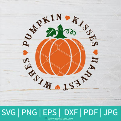 Pumpkin Kisses SVG - Harvest Wishes Svg -Happy Fall Y'all Svg - Newmody