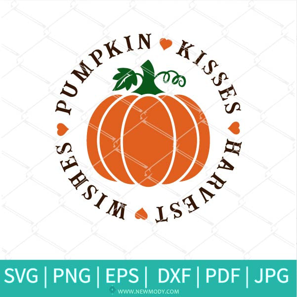 Pumpkin Kisses SVG - Harvest Wishes Svg -Happy Fall Y'all Svg