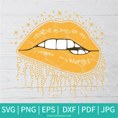 Shiny Dripping Lips Svg - Golden Glitter Lips Svg