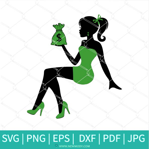 Sitting Fashion Girl With Money Bag Bundle SVG - Rich Girl SVG - Saint Patrick's Day SVG - Newmody