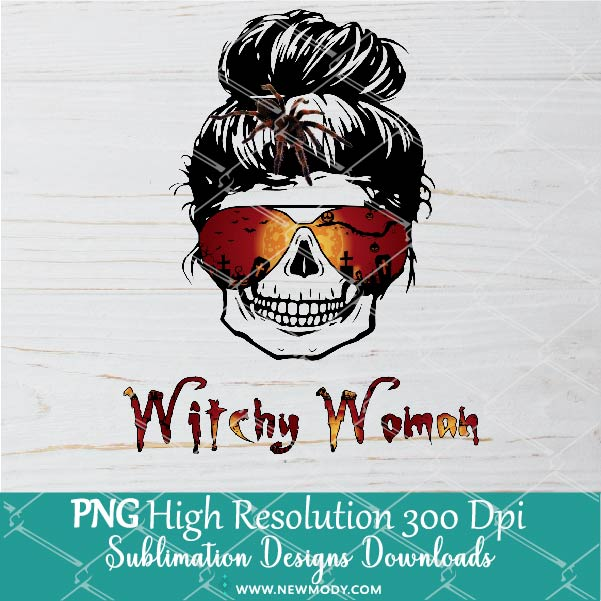 Witchy Woman PNG Sublimation Design- Skull Bun Hair With Spider Png