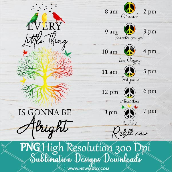 Life Tree Water Tracker Sublimation PNG - Rasta Colors Png - Custom Water Tracker Bottle and Tumbler