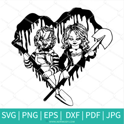 Chucky and Tiffany Svg - Blood Bloody Heart Horror Svg