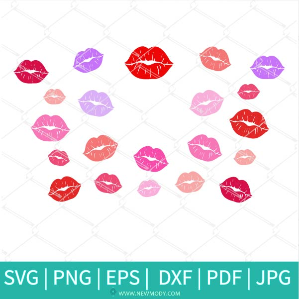 Lips Starbucks SVG - Kiss Lips SVG - Valentine SVG - Distressed Lips svg