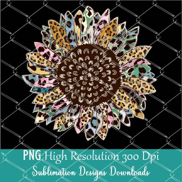 Colorful Leopard Sunflower PNG Transparent background - Sublimation Design