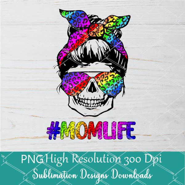 Rainbow Leopard Mom Life Skull With Sunglasses And Bandana Sublimation PNG