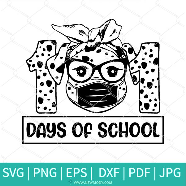 101 Days of School SVG - Dalmatian Dog With Mask svg