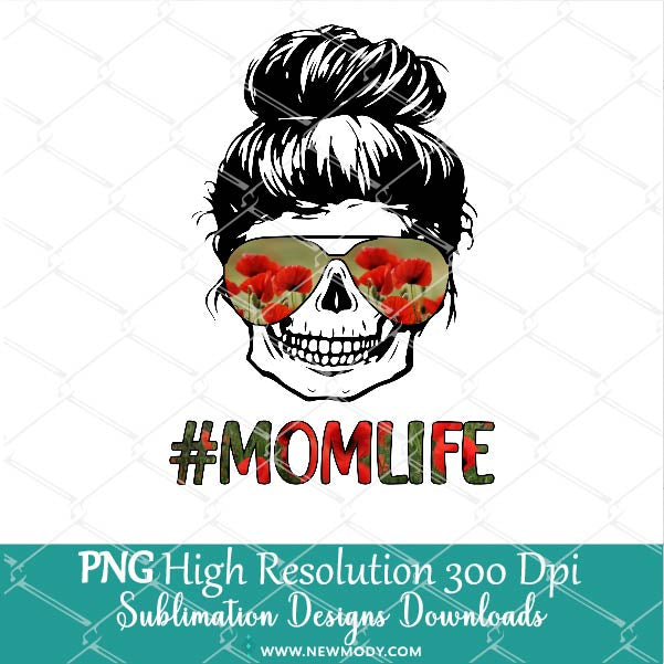 Mom Life Skull Floral Sunglasses Sublimation PNG