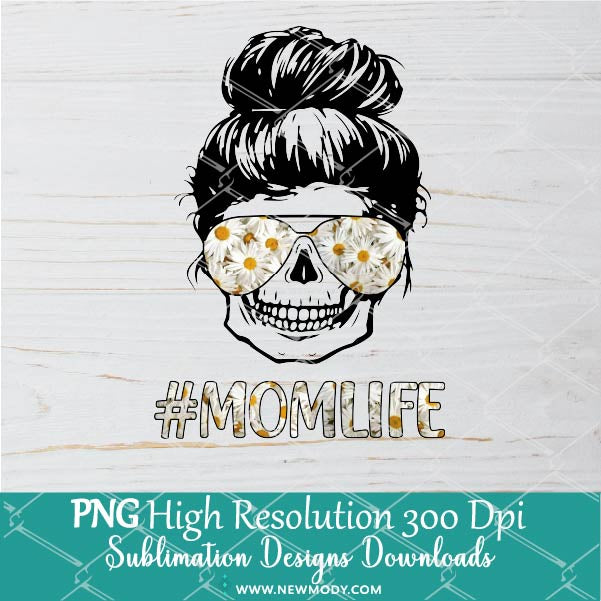Mom Life Skull Daisy Sunglasses Sublimation PNG