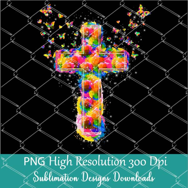 Colorful Watercolor Cross PNG sublimation- Rainbow Watercolor Cross PNG