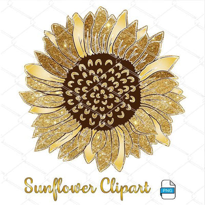 Glitter Sunflower Clipart - Sunflower Sublimation Design Newmody