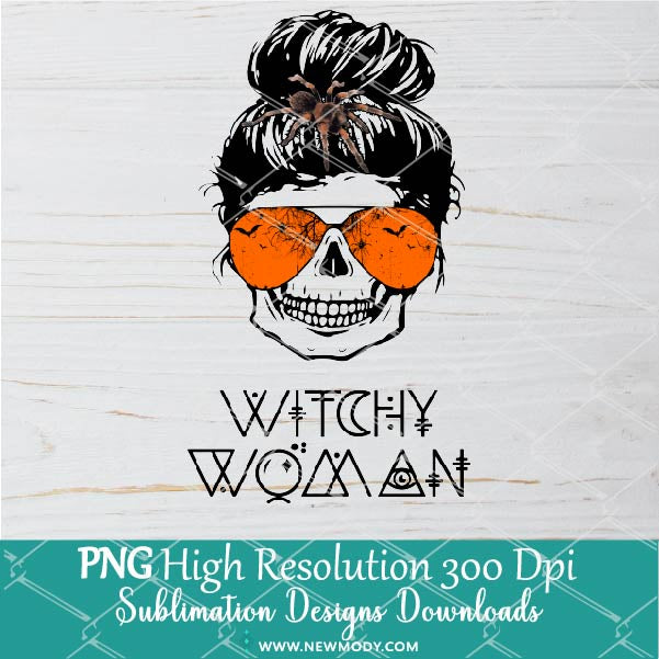 Witchy Woman PNG Sublimation Design- Skull bun hair with Spider- Messy bun skull Png