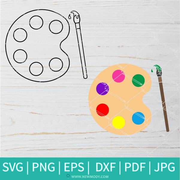 Paint Palette SVG | Paint Brush SVG | PNG | Dxf |  Eps | Pdf | Vector Clipart