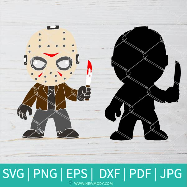 Chibi Jason SVG Layered - Horror Movie Svg - Halloween SVG