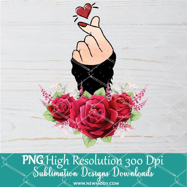 Finger Heart PNG Sublimation - Valentine PNG - Korean Heart Sublimation