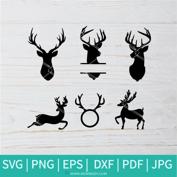 Deer Bundle SVG - Deer and Mountains SVG - Forest Deer SVG - Deer Monogram SVG