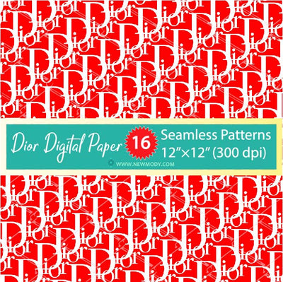 Dior Digital Paper Pack - 16 Dior Seamless Patterns Bundle - Dior Pattern SVG