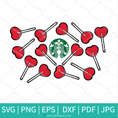 Heart Lollipop Starbucks SVG - Heart Lollipop SVG - Valentine SVG - Newmody