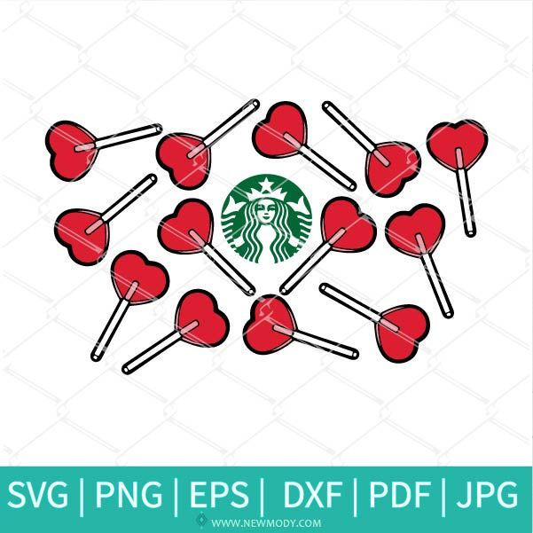 Heart Lollipop Starbucks SVG - Heart Lollipop SVG - Valentine SVG