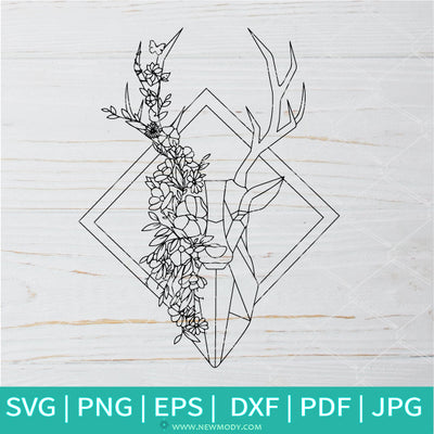 Coloring Mandala Deer Frame SVG - Deer  Head SVG -Mandala SVG
