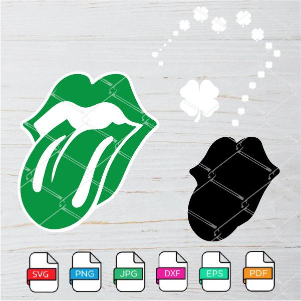 St Patrick Lips with Tongue SVG - St. Patricks Day SVG