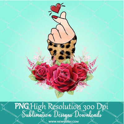 Leopard Finger Heart PNG Sublimation design – Valentine Sublimation PNG – Woman Hand Clipart - Newmody