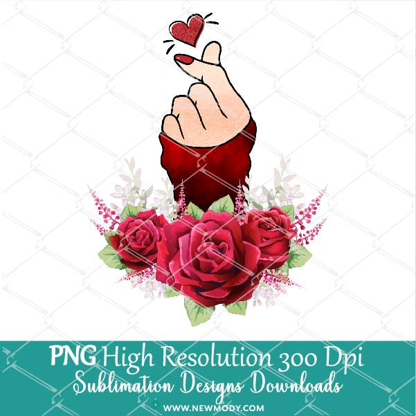 Red Watercolor Flowers Finger Heart PNG Sublimation design – Valentine Sublimation PNG – Woman Hand Clipart- Love Shirt design