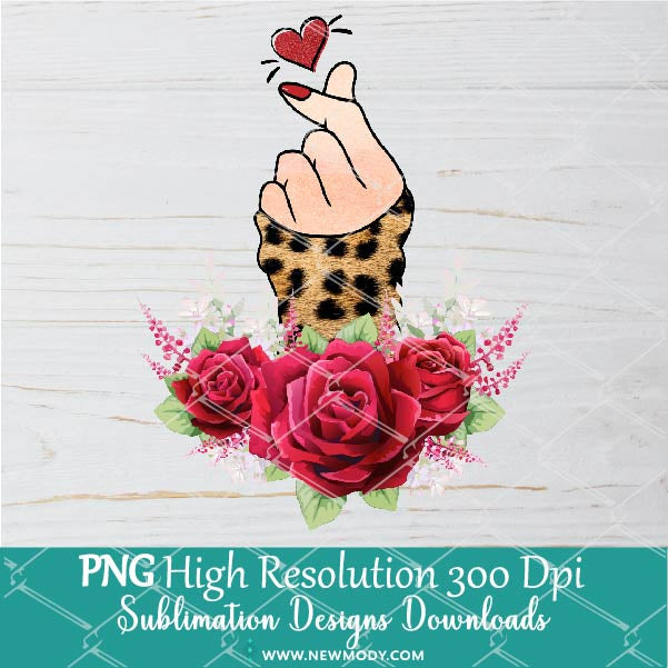Leopard Finger Heart PNG Sublimation design – Valentine Sublimation PNG – Woman Hand Clipart